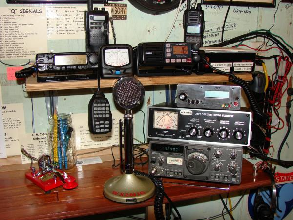 The only things left in this photo is the Kenwood TS-130S, the Vibroplex key, and the MFJ 949-c antenna tuner, plus I still have the Yaesu VX-170.... Everything else has either been sold, traded, or relocated....