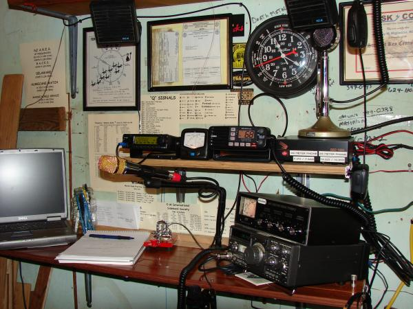 One of my previous arrangements showing the Uniden VHF Marine radio (now gone) and the IC-2200H (now in my Jeep Liberty)