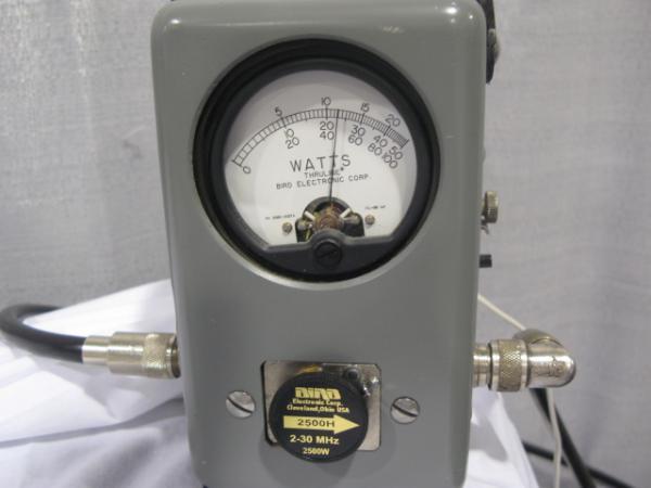 Bird 43P meter showing output of Dishtronix amp