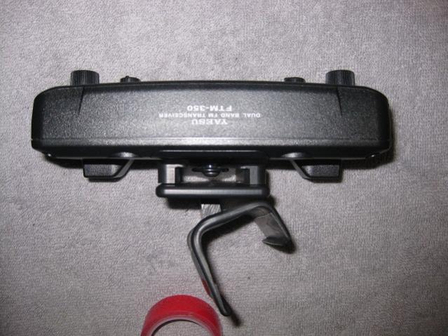 Downward view of control head attached to Proclip