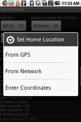 HamSatDroid  Home Location Options