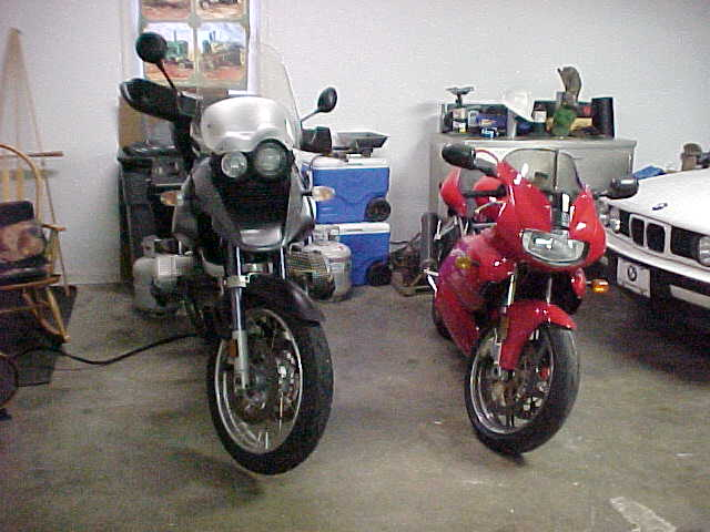 My 2003 BMW 1155gs and 2001 Ducati 900ss.