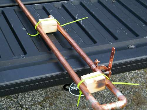 """Bottom Antenna Section with Wooden Blocks in place to maintain 2"""" Spacing between elements"""