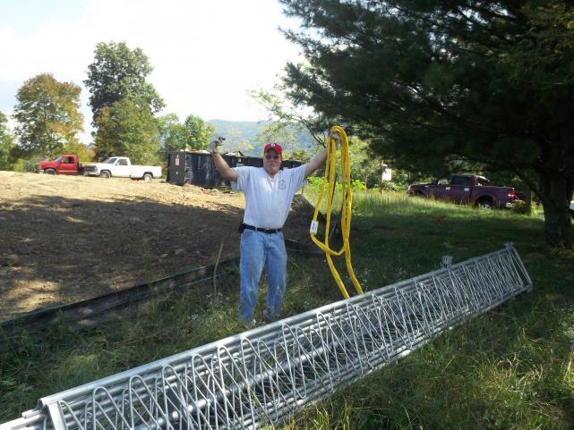 John KI4QEO celebrates off load of tower. Thanks for the help John!