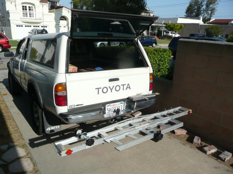 Bike rack assembled and mounted on the Tacoma