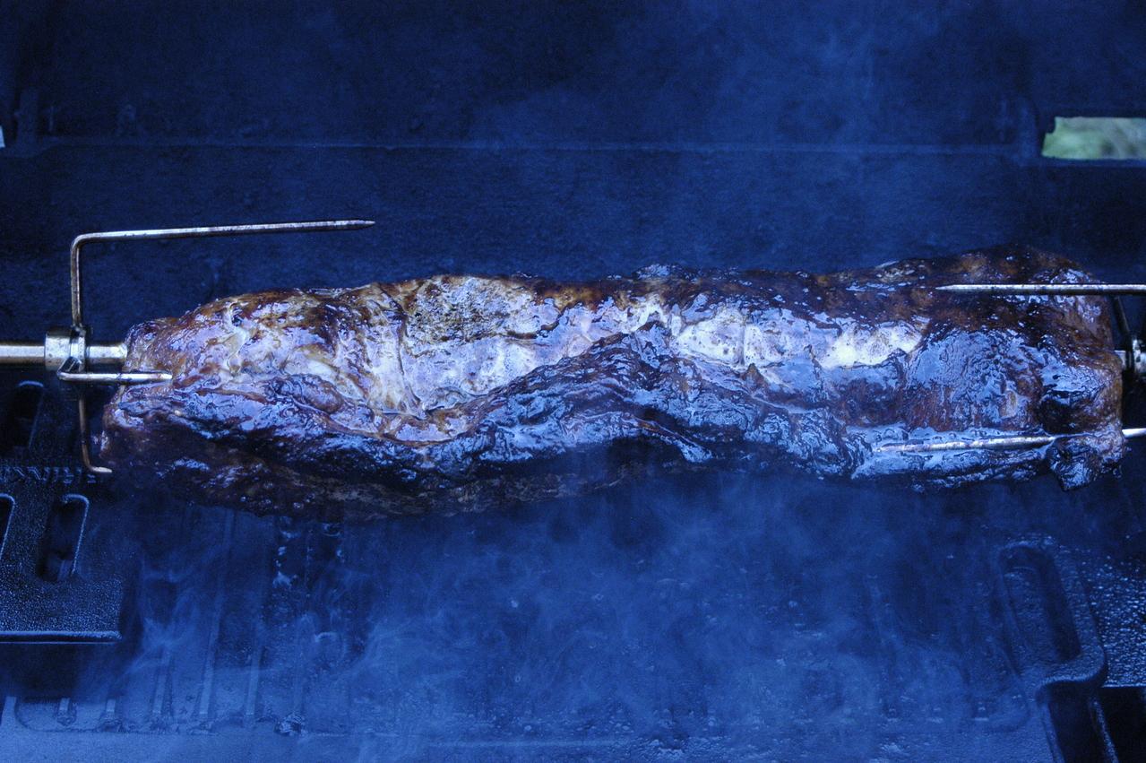 Pork loin on the rotisserie