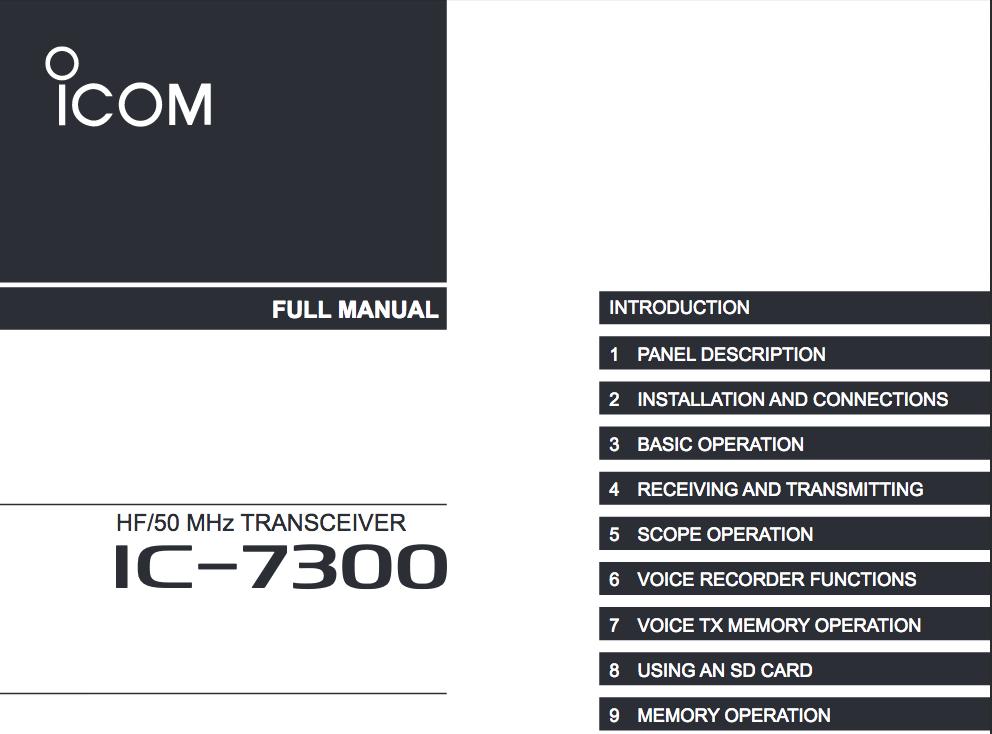 iCom IC-7300 Manual Cover