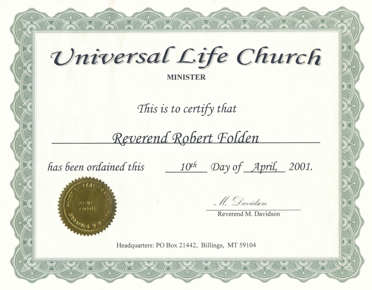 #ULC Ordination Certificate