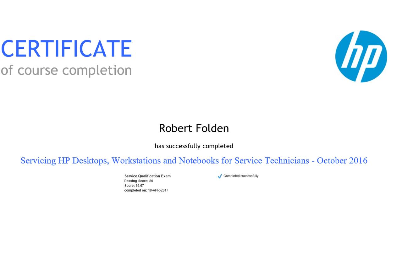 Servicing HP Desktops, Workstations & Notebooks for Service Technicians