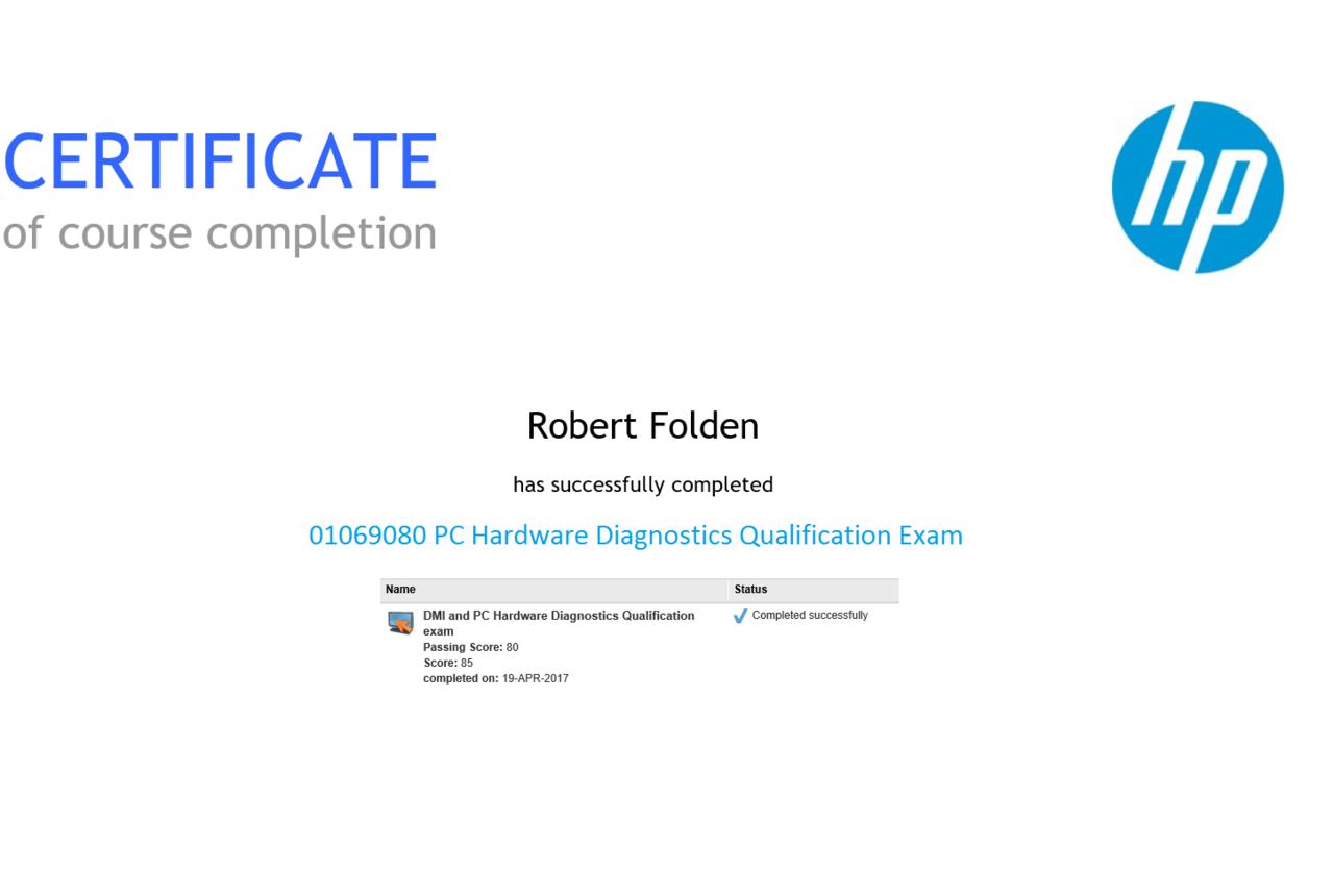 HP PC Hardware Diagnostics Qualification Exam