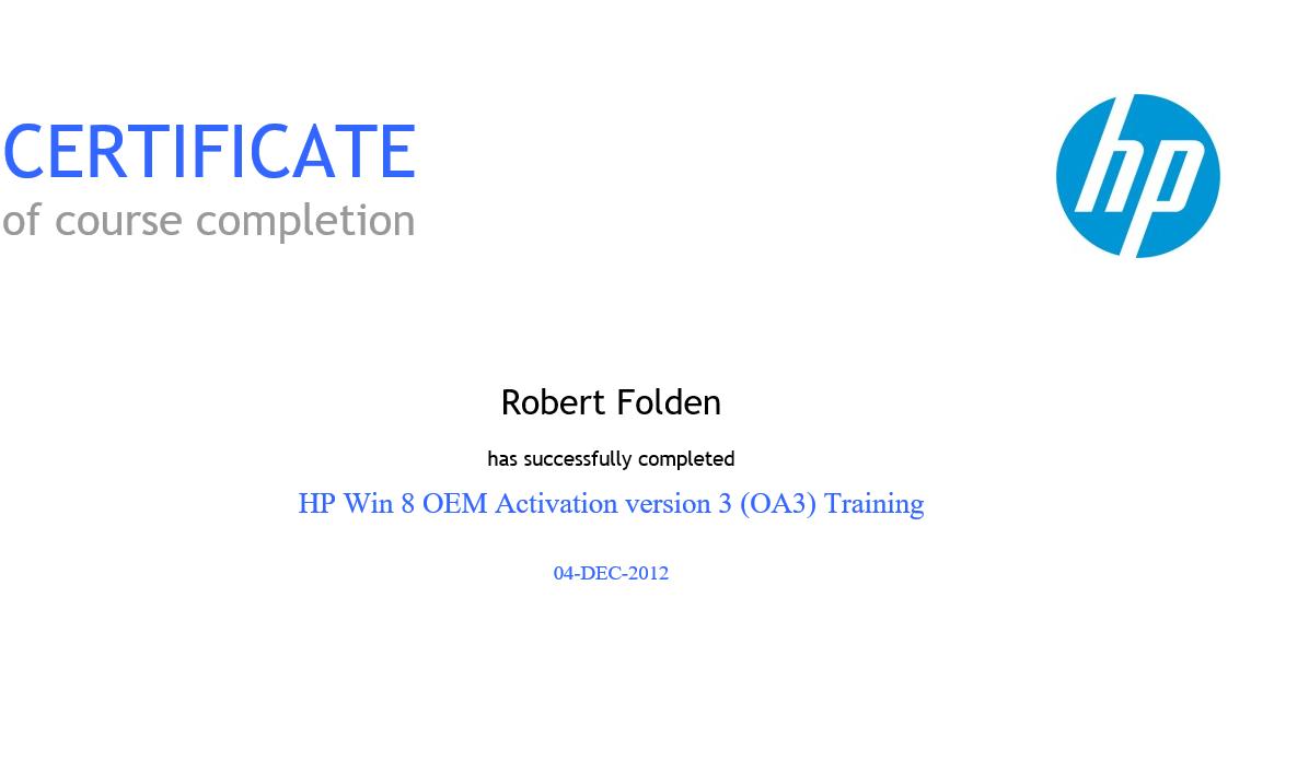 HP Win 8 OEM Activation v 3 (OA3) Training