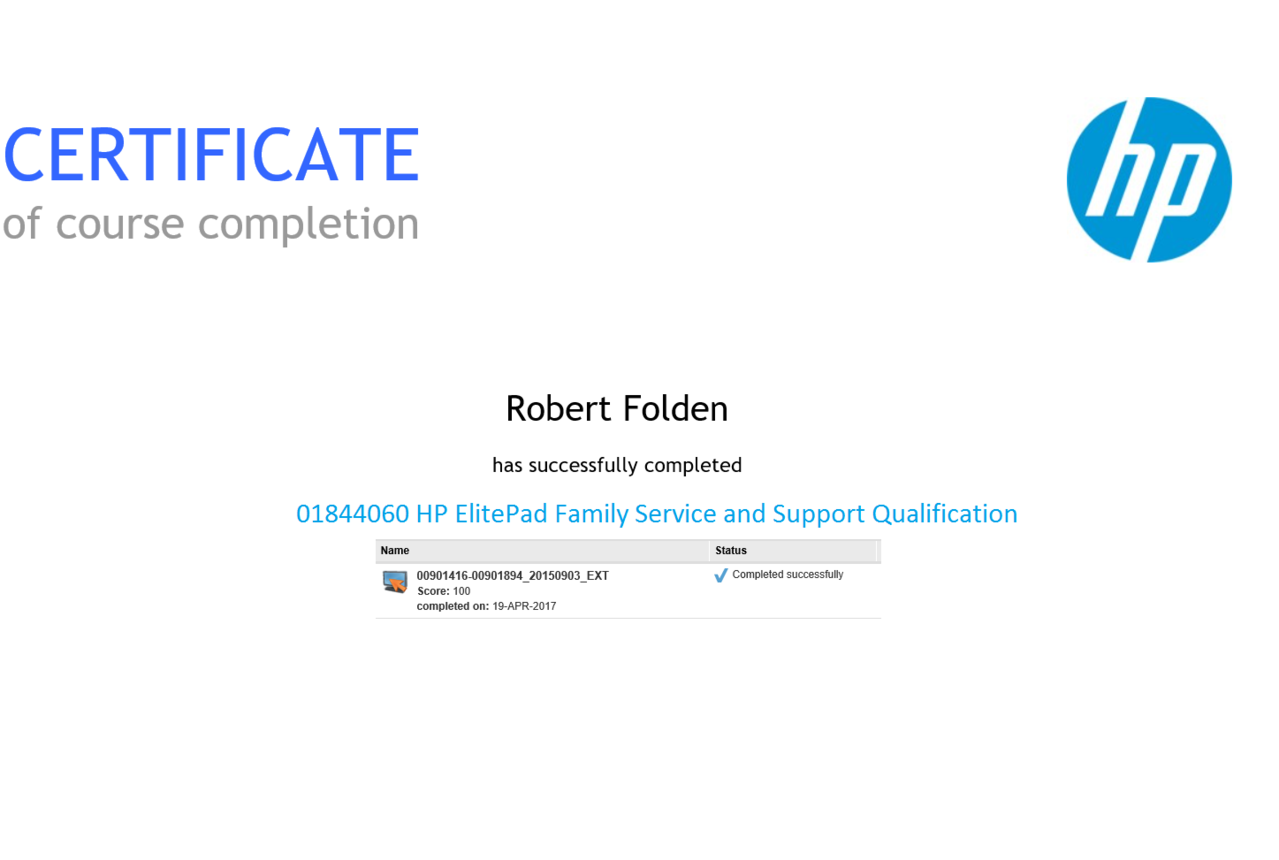 HP ElitePad Family Service and Support Qualification