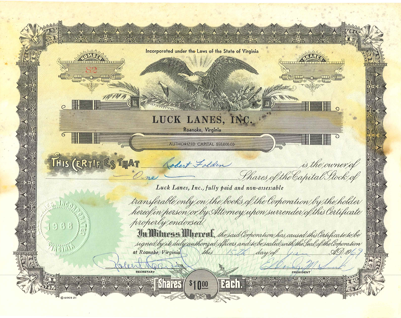 1968 - Luck Lanes Stock Certificate