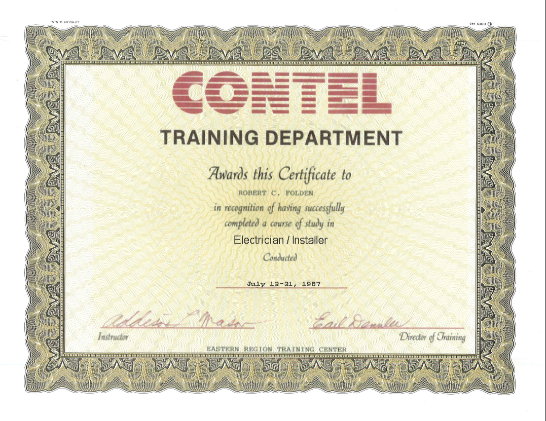 1987 - CONTEL Electrician-Installer