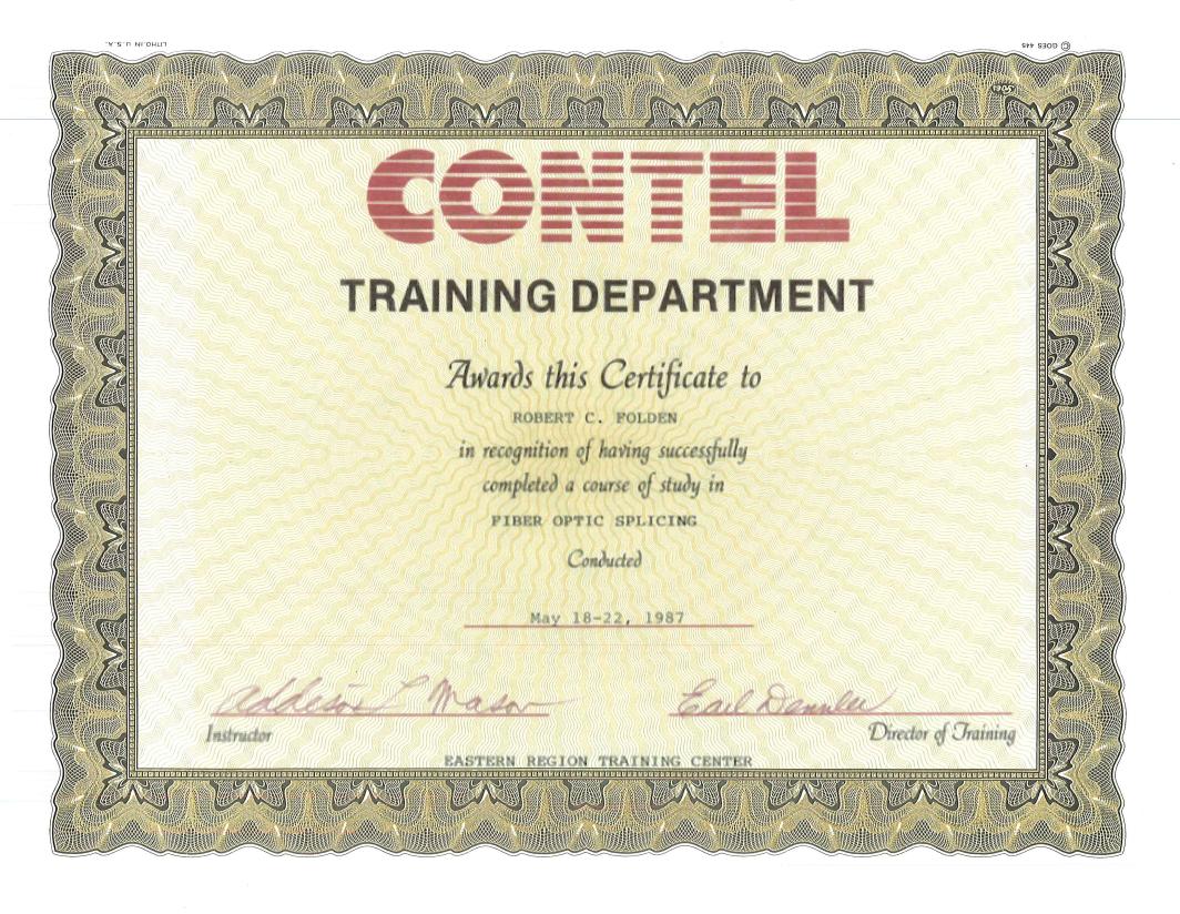 1987 - CONTEL Fiber Optic Splicing