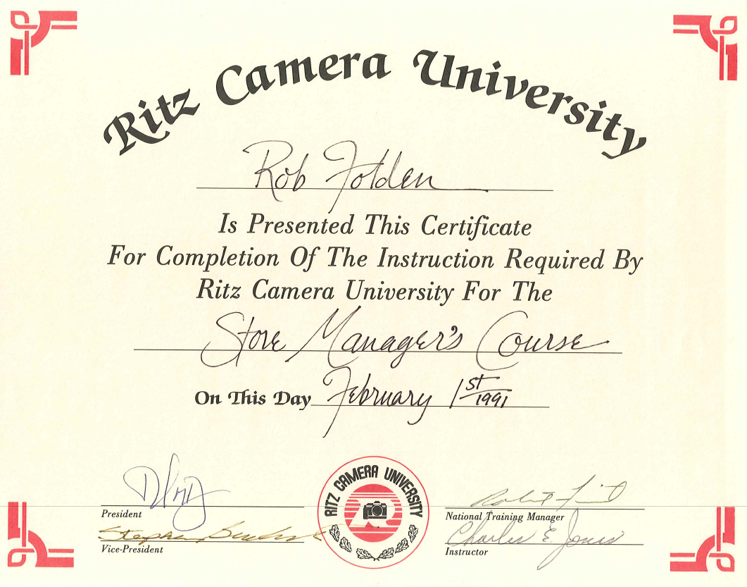 1991 - Ritz Camera University - Store Manager's Course