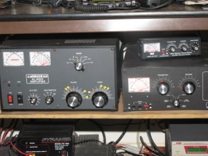 Ameritron AL-800H, Ameritron ATR-30 tuner for the ham bands, MFJ-904H matches the CBs to the Cushcraft R6000