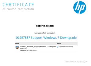 HP 01997887 Support Windows 7 Downgrade