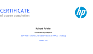 HP Win 8 OEM Activation v 3 (OA3) Training